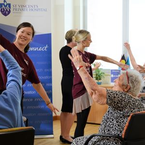 Queensland Ballet dancers give a class to aged care residents