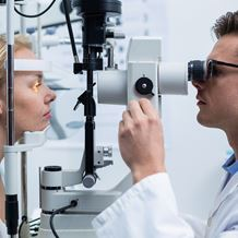A patient is examined by an Ophthalmologist