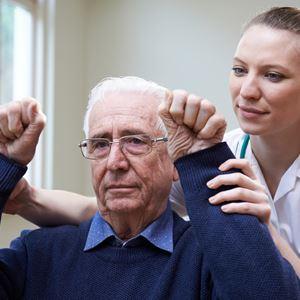 Nurse with geriatric patient
